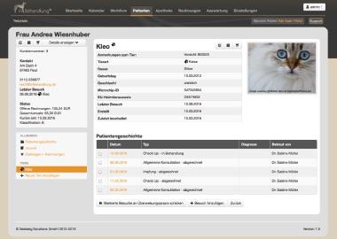 Neukundenerfassung, Tierarztsoftware inBehandlung