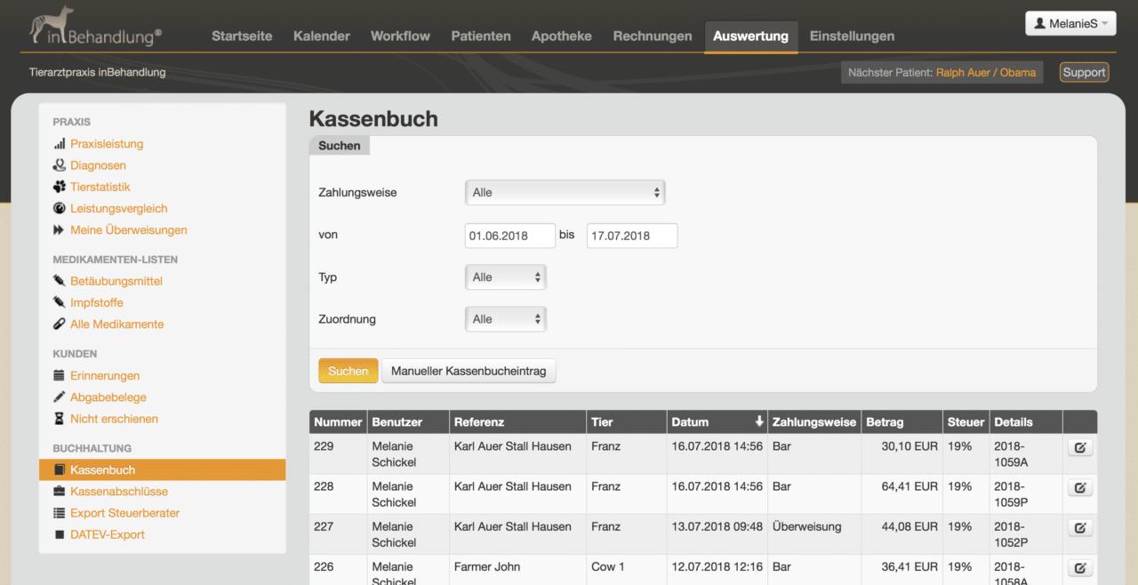 GoBD konforme Kassenbuchführung, Tierarztsoftware inBehandlung