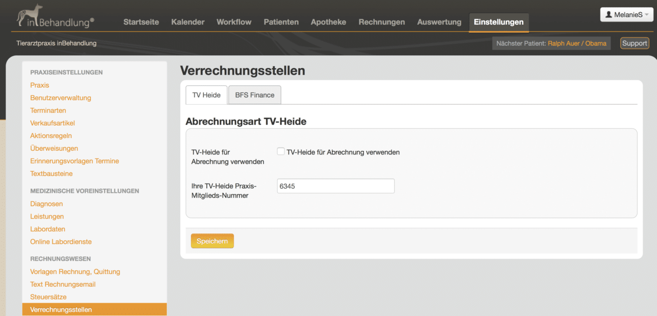 Integration mit Verrechnungsstellen (TV Heide, BSF finance), Tierarztsoftware inBehandlung