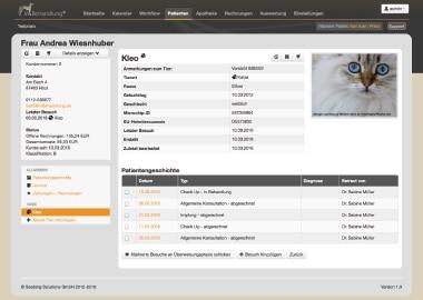 Benutzeroberfläche Tierarztsoftware inBehandlung