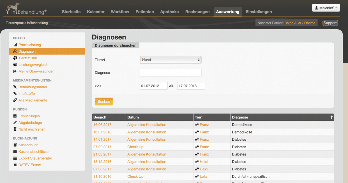 Diagnostische Auswertungen, Tierarztsoftware inBehandlung