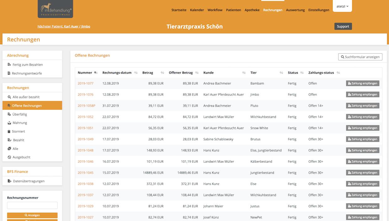 Detaillisten zu Besuchen & Rechnungen, Tierarztsoftware inBehandlung