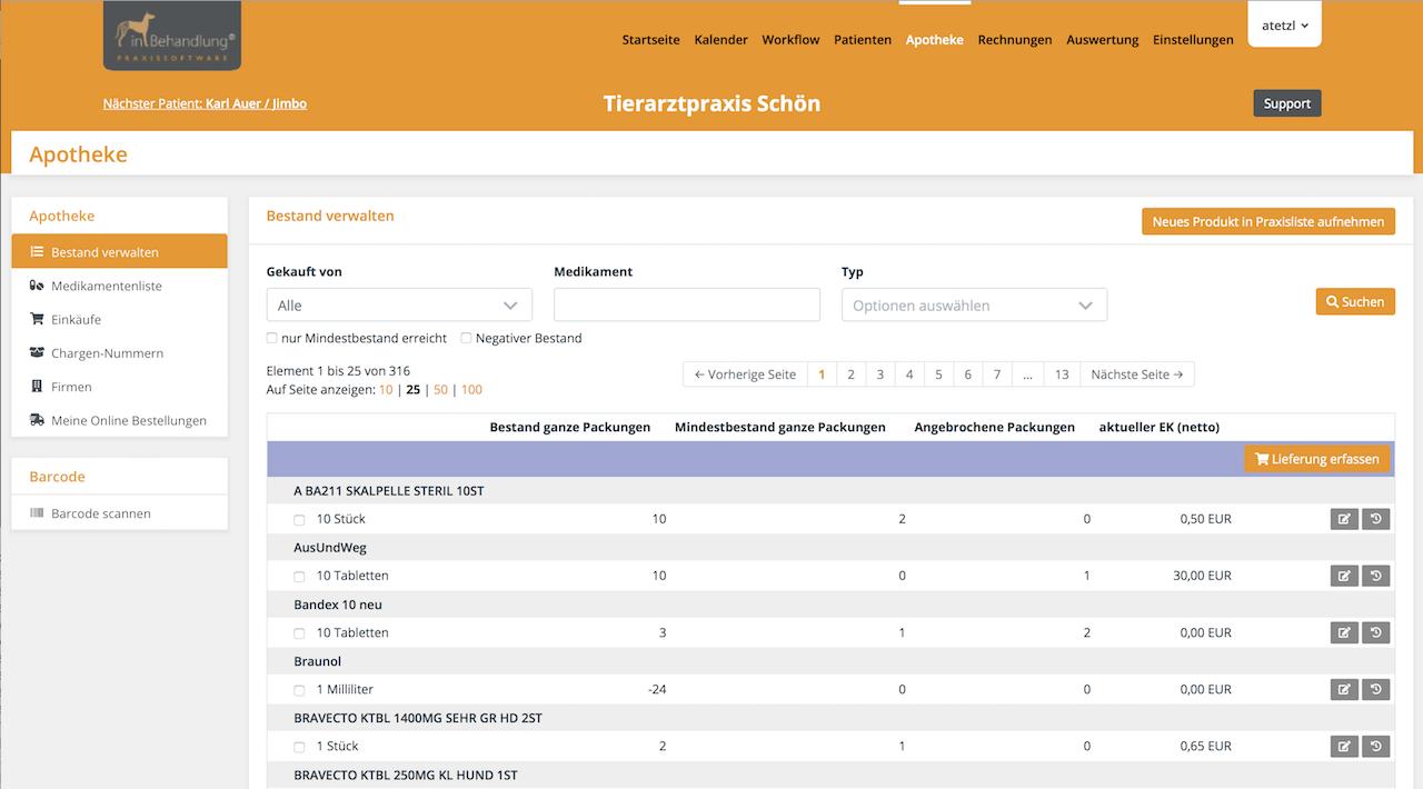 Medikamentenbestand & Futtermittel verwalten und dokumentieren, Tierarztsoftware inBehandlung