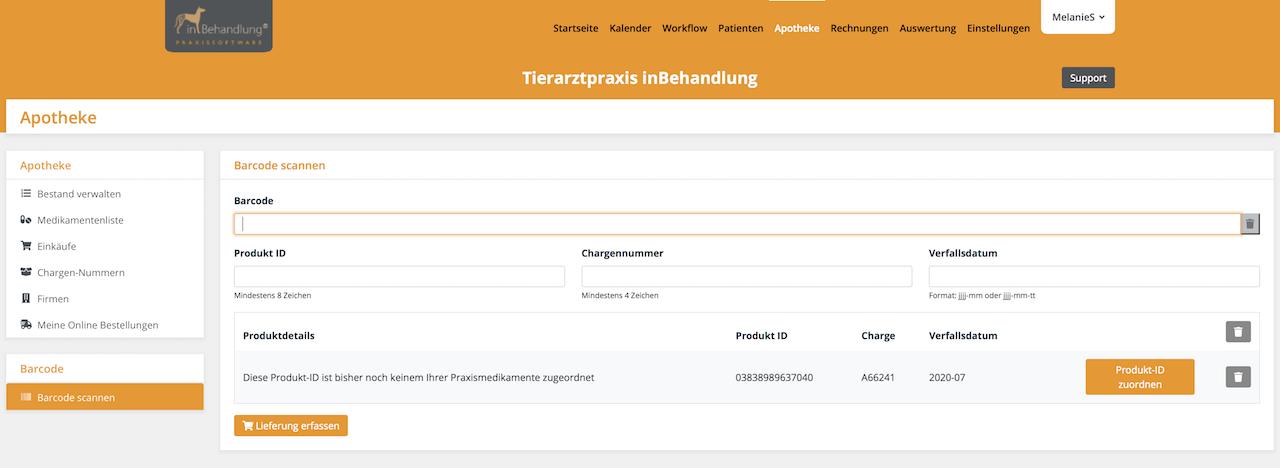 Barcodescanner & Verfallsdatum, Tierarztsoftware inBehandlung