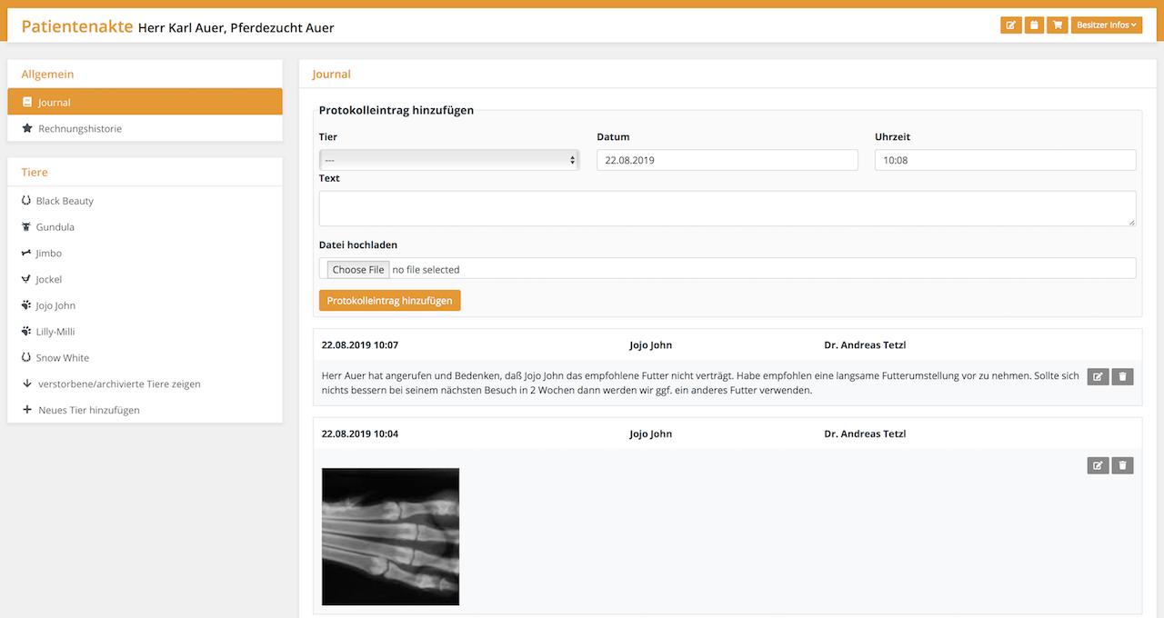 Journal führen, Tierarztsoftware inBehandlung