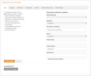 Laboraufträge direkt aus der Behandlung an Partnerlabore senden, Tierarztsoftware inBehandlung