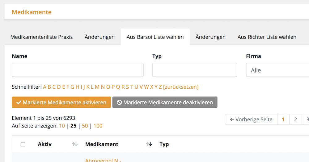 Medikamenteninformationen und Preise direkt aus der Barsoi Liste (Deutschland) und eLord Richterliste (Österreich) einspielen, Tierarztsoftware inBehandlung