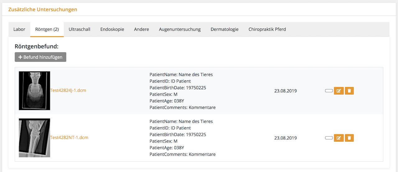 Hinterlegen von Dateien und Bildern in allen gängigen Formaten, auch DICOM, Tierarztsoftware inBehandlung